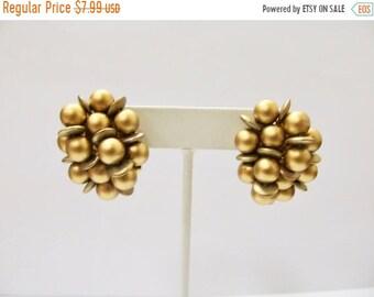 On Sale Vintage Golden Beaded Cluster Earrings Item K # 2013