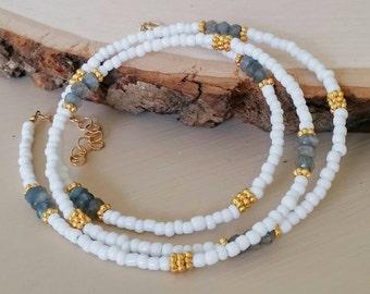 Labradorite , gold & white seed bead wrap bracelet / necklace Boho chic. Grey. Coachella. Minimalist. Dainty. Delicate. Arm candy Stack Gift