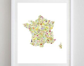 France Floral Watercolor Art Print