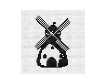 Windmill PDF Pattern, Instant Download, Cross Stitch Pattern, PDF Pattern, Digital Download, Easy Cross Stitch