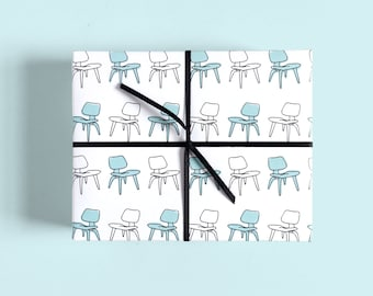 Retro Mid Century Gift Wrap / Vintage Lounge Chair / Chair Print / Designer Chair / Eames Lounge Style / Cute Wrapping Paper
