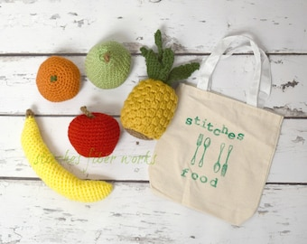 Crochet Food, Crochet Fruit Play Set, Play Food, Crochet Fruit, Crochet Food Toy, Pretend Food, Pretend Fruit, Pretend Play