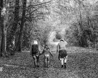 A walk in the woods with family Photo / Poster / Canvas Black and White