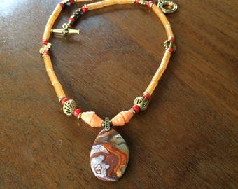 Crazy lace Rosetta stone agate and aventurine necklace