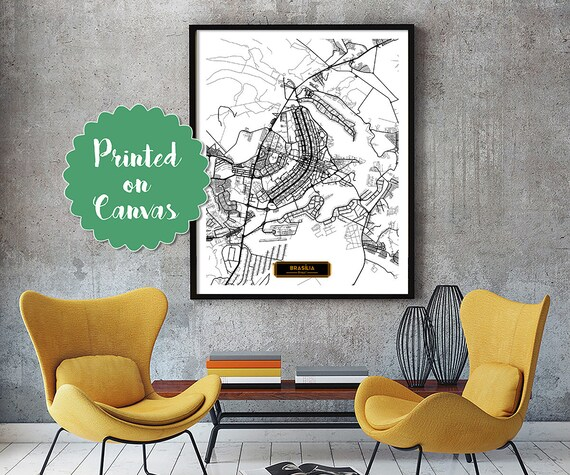 BRASILIA Brazil CANVAS Large Art City Map Braslia Brazil Art