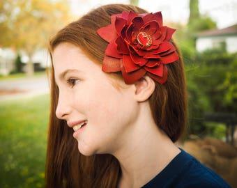 Red Hair Flower Clip