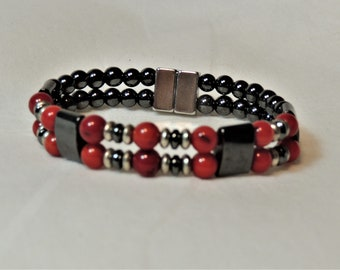 Red Carnelian and Magnetic Hematite Double Bracelet