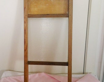 Wooden Vintage Washboard with Glass