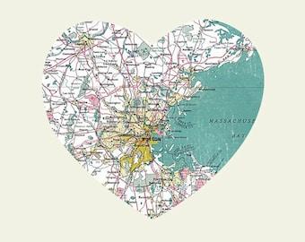 Boston Art City Heart Map - 8x10 Art Print