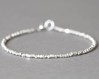 Silver Bracelet Simple Silver Bracelet Stacking Bracelet Silver Bracelet Beaded Bracelet Gift for Her