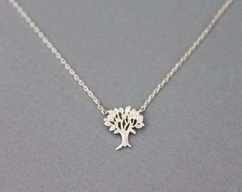 Silver Tree of Life Necklace Tiny Charm Necklace . bridesmaid Gift Dainty and Delicate Necklace Birthday Gift