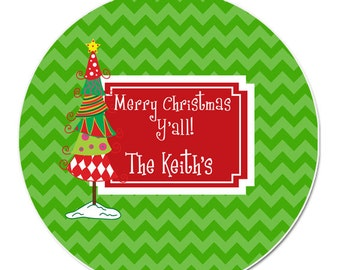 Name Personalized Christmas Coasters - Red and Green Whimsy Tree Coaster Set - Personalise Coaster Set - Christmas Tree Coaster Set