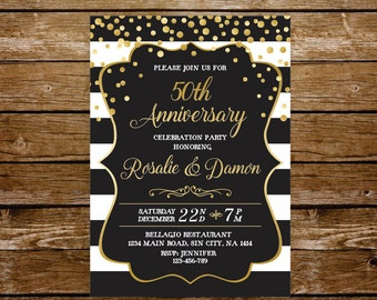 50 wedding anniversary invitation gold anniversary party 50th anniversary 40th black and white wedding surprise party invite printable 231