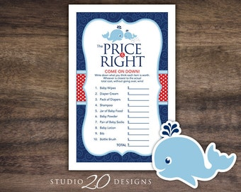 Instant Download Whale Price Is Right Game, Navy Blue Red Whale Baby Shower Games, Printable Nautical Price Is Right Baby Game 20D