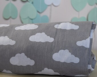 Cot-Bed-Fitted-Sheet-100-COTTON- Cot Bed Fitted Sheet 100% COTTON Grey  Clouds Bedding