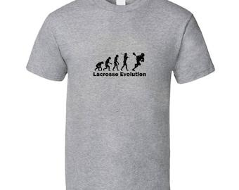 Lacrosse Evolution T Shirt Gray Funny Lacrosse Shirts and Lacrosse Tshirts LacrosseHeads
