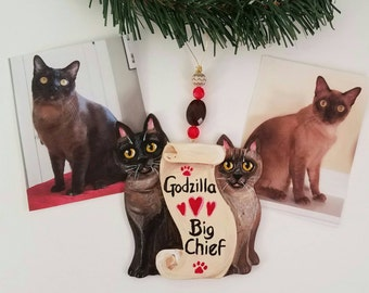 Custom Cat Christmas Ornament - Two Cat Ornament - Cat Memorial Gift - Custom Cat Portrait - Christmas Cat - Personalized Cat Gift