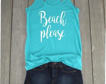 Beach Please Tank | Beach Tank Top - Racerback Tank - Hola Beaches - Summer Tank Top