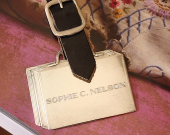 Sterling Satchel Check by Reed and Barton, Sterling Silver Luggage Tag