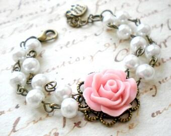 Flower Girl Gift Pink Bracelet Little Girl Jewelry Pastel Bracelet Flower Girl Bracelet Pearl And Flower Bracelet Wedding Child Gift