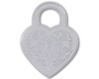 50 Silver Heart Padlock Wedding Envelope Seal Stickers, Shiny Metallic Silver Heart Wedding Invitation Seals, Silver Foil Heart Stickers