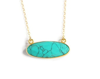 Oval Turquoise and Gold Pendant Necklace