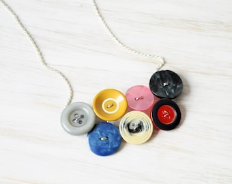 Boho button necklace, Collar necklace, Chunky necklace, Button Jewelry, Statement necklace, Cute necklace, Mother day gift, Sister gift, UK