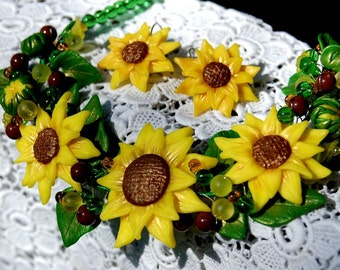 Set jewelry Sunflowers Necklace sunflowers Earrings sunflowers Flowers Summer jewelry
