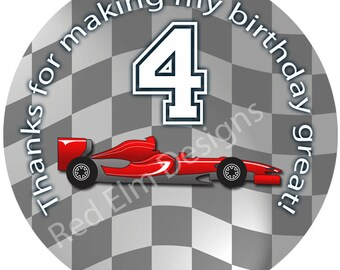"Stock Car Stickers - Sheet of 20 - 2"" round.  Car Birthday Party Favors.  2 Inch Round Race Car Stickers"