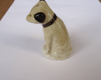 vintage nipper dog salt and pepper shaker ceramic,rca nipper dog figuring,phonograph advertising
