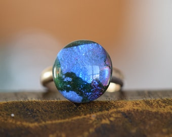 Blue and Purple Foil Glass Silver 925 Solitaire Ring, US Size 7.75, Used Vintage Jewelry  -S099-
