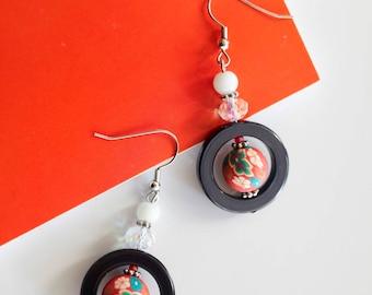 Statement chandelier earrings in blue, red & white
