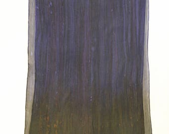 Ombre Crinkle Silk Chiffon Scarf - Hand Painted - Dark Purple with Olive Brown Ends