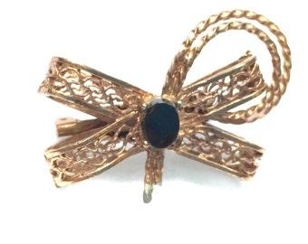 Vintage copper bow pin onyx Filigree