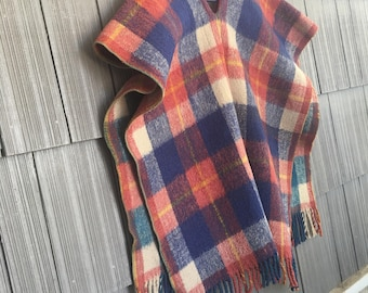 Vintage Wool cabin poncho in red blue yellow plaid