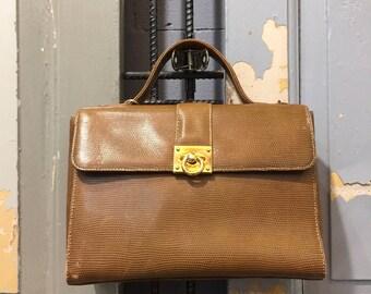 Vintage 90s Faux Leather Top Handle Bag, Women's Handbag