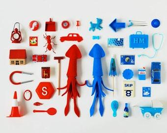 Print: Red Squid, Blue Squid - art miniature collage photograph digital art felt toy figurine retro wall decor HineMizushima poster