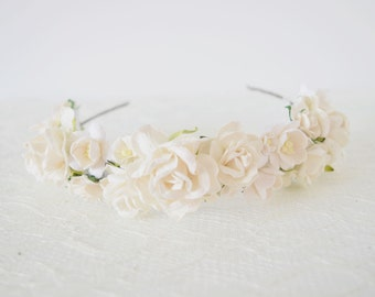 Bridal Flower Headband, floral headband, flower crown, winter wedding, bridal headpiece, flowergirl garland, bridesmaid - ABIGAIL