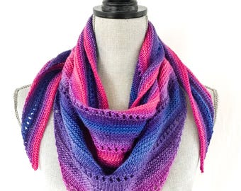 Knit Shawl, Knit Scarf, Half Shawl, Triangle Scarf, Women's Accessories, Lightweight Scarf , Fuschia, Purple, Blue