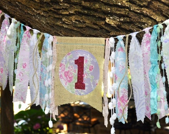 Shabby Chic Butterfly Garden first birthday highchair rag banner, tea party decor decoration, girls 1st birthday cake smash photo prop