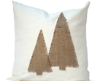 One Christmas Tree Pillow covers, holiday pillow, decorative pillow, cushion, Christmas decoration, Burlap Pillow, Christmas tree Pillow