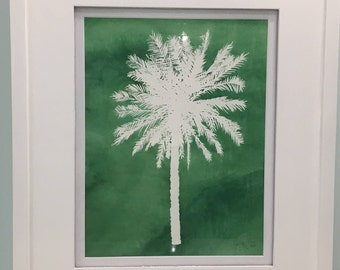 Palm Tree Silhouette (Original Watercolor)