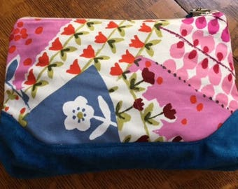 Large Floral Zippered Pouch, Handmade Zippered Bag, Zippered Pouch with Cotton and Suede