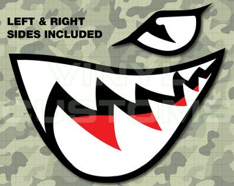 Bullet Bill Flying Tigers Vinyl Decal Sticker Shark Teeth