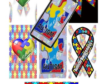 """7 Autism Mix Domino Images 1""""x2""""  Photo Quality 4x6 Sheet Digtal Download Printable Awareness"""