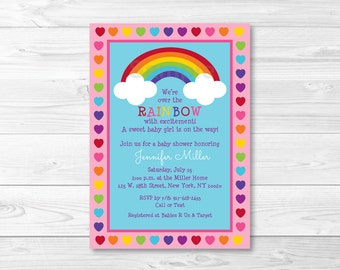 Rainbow Baby Shower Invitation / Rainbow Baby Shower / Rainbow Hearts / PRINTABLE A362