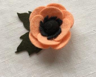 Soft Peach Wool Felt Headband or Clip