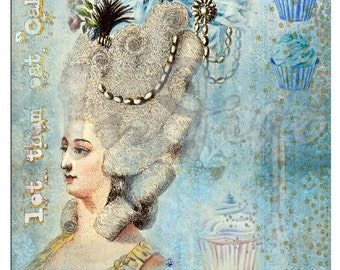 MARIE ANTOINETTE BLUE Turquoise Rose Garland / Swag Crown Cupcake Card Tag Theme Party Vintage Scrapbook Digital Download Decoupage Collage