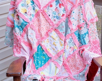 Rag Throw Quilt, Minky Rag quilt, Minky Quilt, Minky Blanket, Ready to ship, Mother's Day gift, Cotton Anniversary Gift