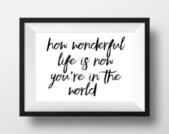 How Wonderful Life Is Now You're In The World, Nursery Print, Black and White Print, Nursery Decor, Nursery Printable, Nursery Quote